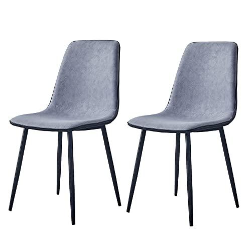 ZWJLIZI (2 piezas) Silla de comedor, silla de respaldo tapizada de tela artificial, silla de maquillaje de acero negro para el hogar, silla de ocio de estilo escandinavo simple (color: F)