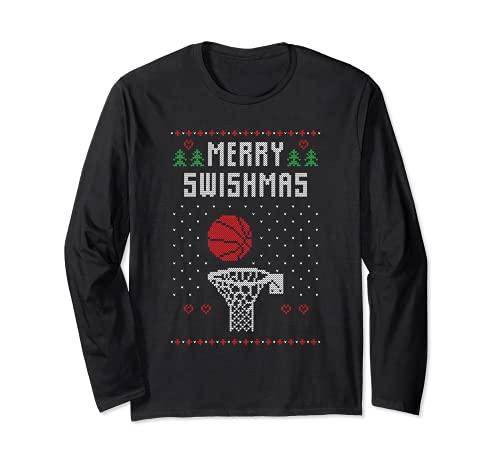 Divertido baloncesto feo Navidad suéter regalo Merry Swishmas Manga Larga