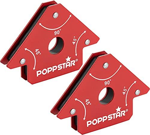 Poppstar Escuadra magnetica para soldar pequeña (Juego de 2 pzas), Fuerza de adhesión de los imanes para soldar: 11,3 Kg, ángulos 45°, 90°, 135°