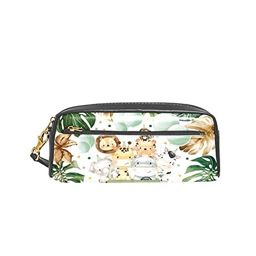 Linda acuarela safari animales selva verde escuela pluma caso niños titulares gran capacidad bolsa maquillaje cosméticos cajas oficina viaje bolsa
