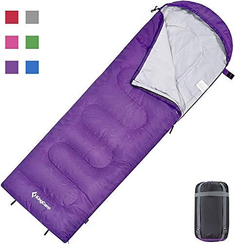KingCamp Oasis 250 Sac de Couchage Momie Léger 100% Polyester pour Camping, Randonnées Chaud Peuvent être Relies Ensembles (Purple L)