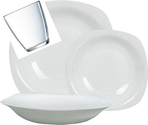 Bormioli - Juego de platos Parma Bormioli para 12 personas, 12 vasos, 48 unidades