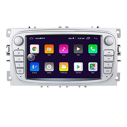 Android 10 OS 7 Zoll 2 Din Autoradio Moniceiver GPS Bluetooth Navigation für Ford C-Max/Connect/Fiesta/Focus/Fusion/Galaxy/Kuga S-Max/Transit/Mondeo(Silber)