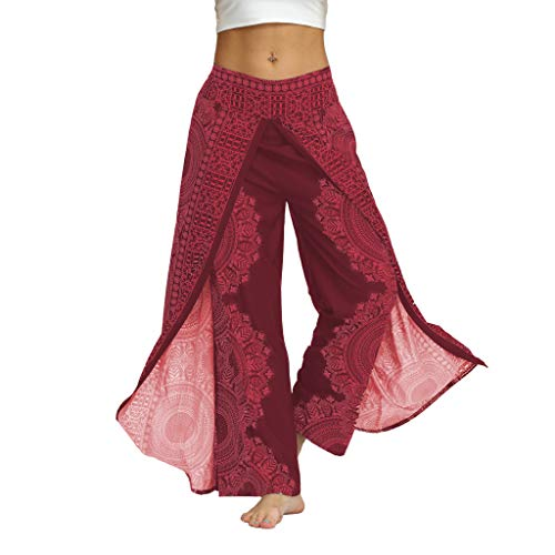 Damenbekleidung Haremshose Pumphose Hose ♥ Loveso♥ Blumenmuster Lange Hose Damen Haremshose Boho Hippie Hose Blumenmuster Yoga Hose (L/XL, Hot Rosa)