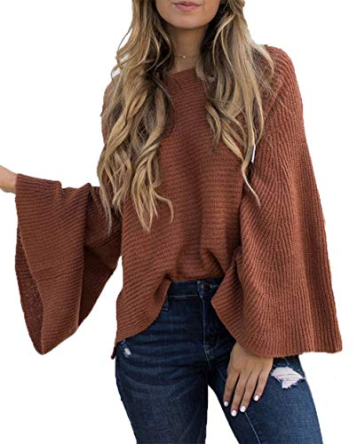 HZSONNE Women's Casual Kimono Bell Sleeve Patchwork Stripe Loose Fit V Neck Pullover Sweater Knitted Tops Blouse Cardigan Brown