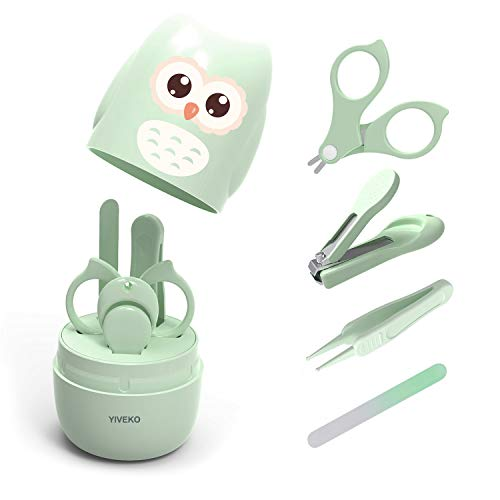 YIVEKO Baby Nail Kit, 4-in-1 Baby Nail Care Set with Cute Case, Baby Nail Clipper, Scissor, Nail File & Tweezer, Baby Manicure Kit and Pedicure kit for Newborn, Infant, Toddler, Kids-Owl Green