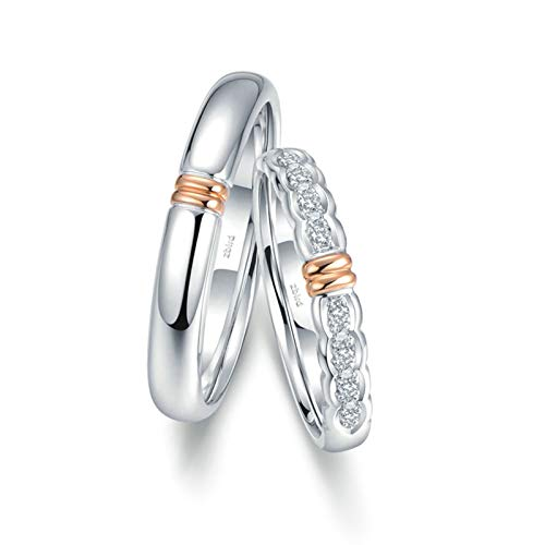 Bishilin Anillo de Compromiso 18K Oro Mujer Talla 23,5 & Hombre Talla 15 Diseño de Onda de Dos Tonos Blanco Diamante Alianza de Boda de la Eternidad del Aniversario Oro Rosa Oro Blanco