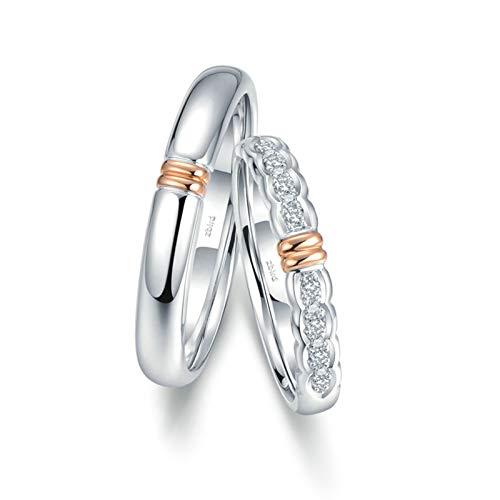 Bishilin Bandas de Anillos para Hombres y Mujeres 18K Oro Mujer Talla 11 & Hombre Talla 28 Diseño de Onda de Dos Tonos Blanco Redonda Diamante Anillo de Boda de Aniversario Oro Rosa Oro Blanco