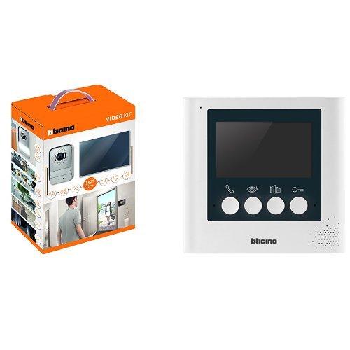 BTicino 317013 Kit Videocitofono con 2 Fili, Finitura Specchio, Mono/Bifamigliare + 332253 Display Aggiuntivo 4.3 Pollici per Kit Videocitofonici 2 Fili, Bianco Perla