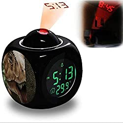 Projection Alarm Clock Wake Up Bedroom with Data and Temperature Display Talking Function, LED Wall / Ceiling Projection, Dinosaur-414.515_Rex, Dino, T Rex, Dinosaur, Carnivores, Replica