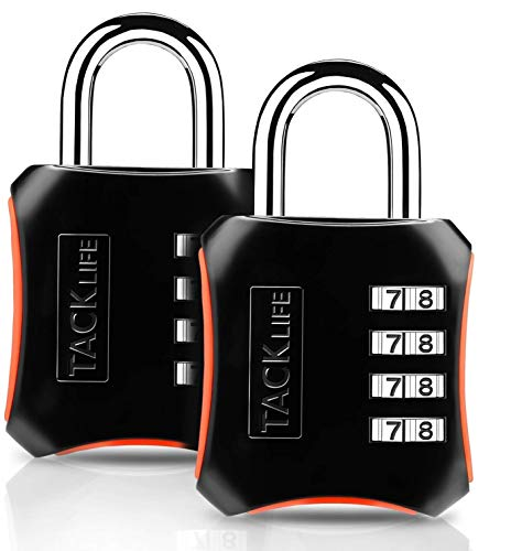 TACKLIFE 2 Pack Combination Lock 4 Digit Padlock for Gym, School, Fence, Case, Toolbox and Hasp Storage-HCL3B