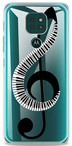 Mixroom Schutzhülle für Motorola Moto E7 Plus (aus TPU, Silikon, weich, mit transparentem Hintergrund, Motiv: Klavier auf Violinschlüssel U922)