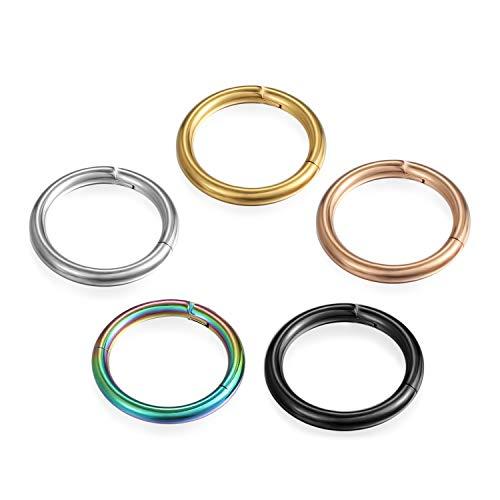Cupimatch Unisex 5Pcs Nasenring Set Segmentring Nase Ring Nasenpiercing Ohrring Ohrstecker Damen Herren Titan 12mm, Gold Silber Schwarz