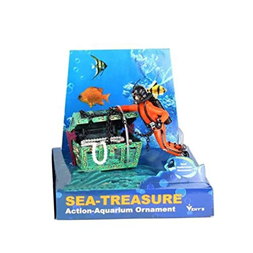 Timetided Diver Hunter Cofre del tesoro Adorno de paisaje submarino Pecera de dibujos animados Adorno de paisajismo de acuario Decoración