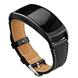 OenFoto Bracelet de Rechange Compatible Gear Fit2 Pro/ Fit2, Bande de Remplacement en Cuir pour Samsung Gear Fit 2 Pro SM-R365/ Gear Fit2 SM-R360 Montre Intelligente (Noir)