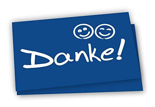 10x Dankeskarten + Umschläge: Danke Postkarte mit Smiley - Danke Karten Set Geburt, Mitarbeiter, Baby, Taufe, Danksagungskarte Jubiläum Kollegen Dankeschön Karte