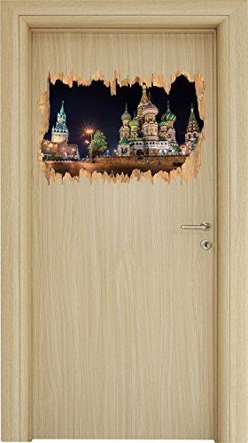 Basilius Kathedrale in Moskau Holzdurchbruch im 3D-Look , Wand- oder Türaufkleber Format: 62x42cm, Wandsticker, Wandtattoo, Wanddekoration