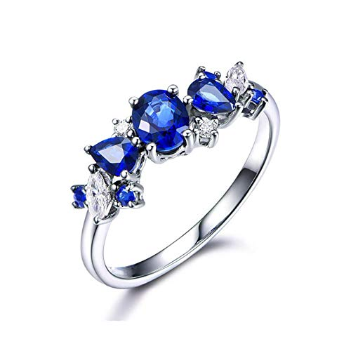 AueDsa Womens Rings 925,Wedding Rings for Women Blue Sapphire Oval Water Drop Sapphire Blue White Ring Size T 1/2