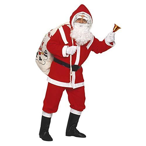 Widmann 1535d Adultes Costume Luxe Père Noël en Flanelle, Casaque, Pantalon, Ceinture, Capuche, Bottes überzieher, Perruque, Barbe avec Moustache et Sourcils, Rouge