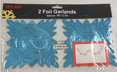 Toyland 9ft Turquoise Foil Garland Christmas Decoration - Pack Of 2