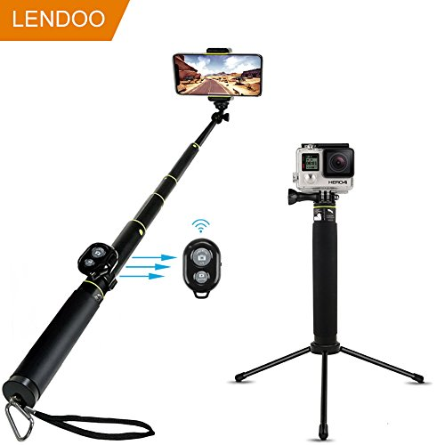 LENDOO Bastone Selfie Bluetooth Selfie Sitck di Aggiustable Treppiede per iphone 7/7plus/6/6s/6plus/Gopro Hero 5/4/3+/3/2/Xiaomi YI/Samsung/DSLR/1/4'' Compact Camera