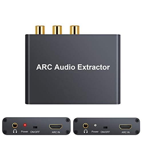 Adaptador de audio ARC HDMI, extractor de audio ARC de 192KHz con analógico de 3,5 mm L/R y convertidor de audio coaxial digital/estéreo TOSLINK SPDIF para altavoz de amplificador HDTV soundbar