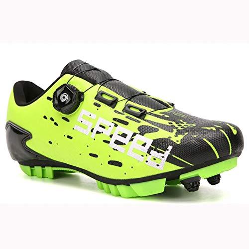 Zapatillas de Ciclismo para Mujer, Hombre, Zapatillas de Ciclismo MTB con Bloqueo automático con botón Giratorio para facilitar el Inicio del Transporte, Adecuado para Todas Las Bicicletas de montaña