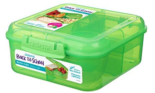 Bento Back to School Cube - 1.25 l + Joghurt Topf - 150 ml. Grün