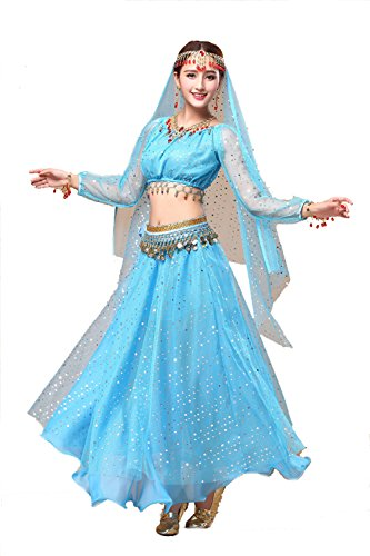 YYCRAFT Women's Halloween Costume Tops Skirt Set with Accessories Belly Dance Performance Outfit-Style A,Azure