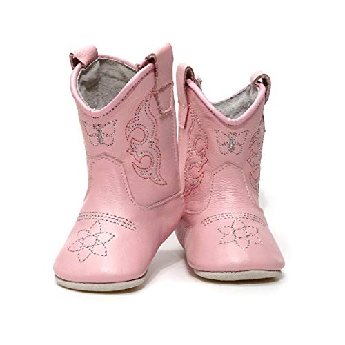 MAMTAKON Real Leather Soft Sole Cowboy Cowgirl Boots for Baby Infant Toddler Girls Newborn Crib Prewalkers Special Occasion (No Box, 0_6 Months) Pink