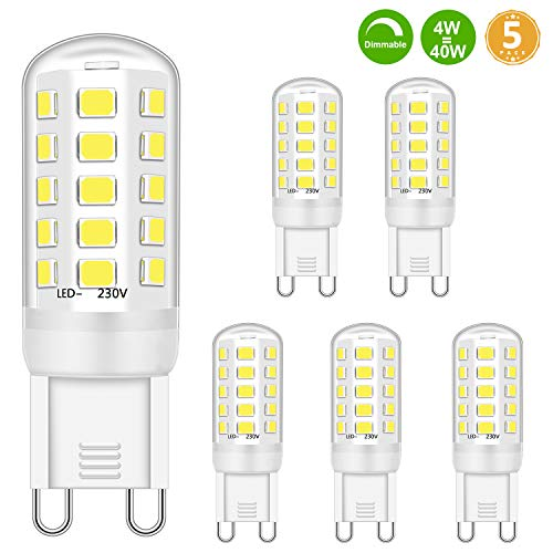 Bombilla LED regulable 4W G9 equivalente a bombillas halógenas de 28W 30W 33W 40 W, blanco frío 6000 K, casquillo G9, no parpadea, 400Lm, AC 220-240V (paquete de 5)