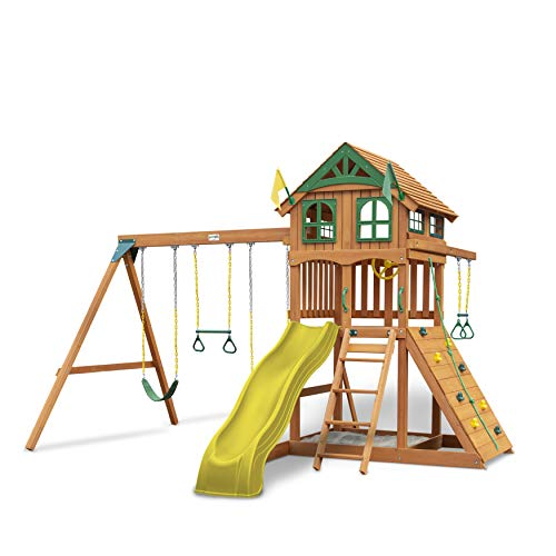 Gorilla Playsets 01-1066-Y Outing Wood Swing Set with Wood Roof and Trapeze Arm - Yellow Slide