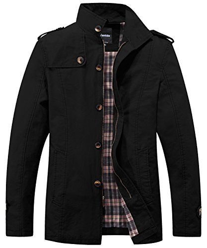 Wantdo Men's Cotton Classic Military Jacket Stand Collar Chore Coat Black Large