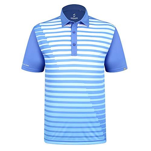 SAVALINO Men's Bowling Polo Shirts Material Wicks Sweat & Dries Fast, New Finishing Technologies to Combat Smell with Material Wicks Sweats & Dries Fast 3XL Light Blue