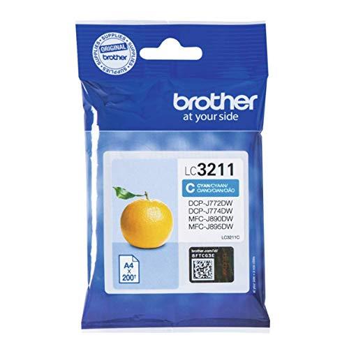 Brother LC3211C Cartuccia Ink-Jet Originale, Capacità Standard, fino a 200 Pagine, per Stampanti MFCJ491DW / MFCJ497DW / DCPJ572DW / MFCJ890DW, Colore Ciano