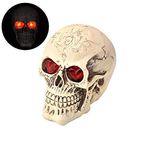 Kylewo Totenkopf aus Harz,Deko Lampe Skull Totenkopf Schädel für die Beste Dekoration zu Halloween