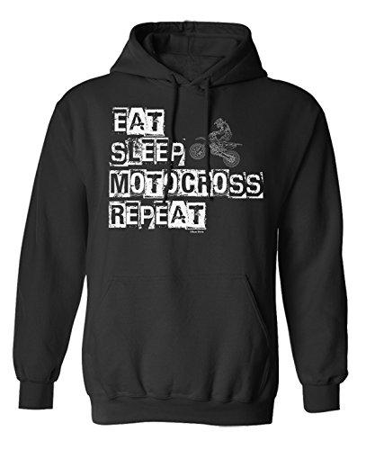 buzz shirts Eat Sleep Motocross Repeat Motorbike Wahl von Hoodie oder von Strickjacke Herren Damen Unisex