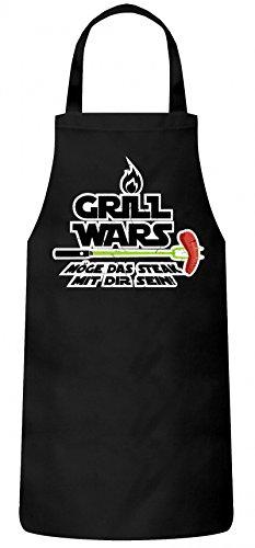 ShirtStreet Grillen Grill Garten Party Frauen Herren Barbecue Baumwoll Grillschürze Kochschürze Flamme Grill Wars - Möge das Steak mit Dir sein, Größe: onesize,Schwarz