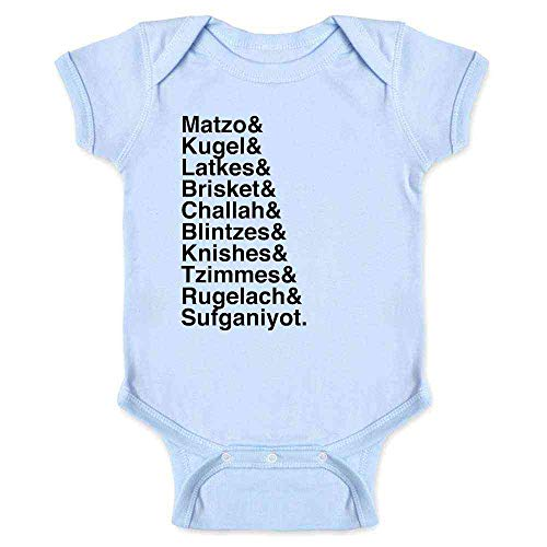 Pop Threads Hanukkah Nosh Foods Ampersand List Funny Jewish Light Blue 6M Infant Baby Boy Girl Bodysuit