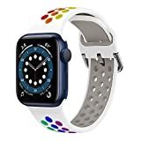 YPSNH Compatible con Correa Apple Watch 38mm 40mm 42mm 44mm Soft Silicone Sports Dual Color Correa...