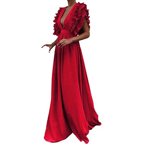 WWricotta Women Plus Size Solid Vintage Fly Sleeve Back Hollow V-Neck Long Party Dress(rot,XXXL)