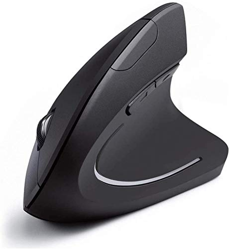 Nidiox Ergonomic Wireless Mouse, 2.4G USB Vertical Ergonomic Mouse with 6 Buttons 3 Adjustable DPI 800/1200/1600 Levels for Computer, Desktop, Laptop, PC, MacBook- Black