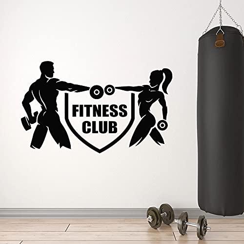 HFDHFH Fitness Club Adesivo da Parete Logo Ferro Sport Palestra Bodybuilding Arte Carta da Parati 74X121CM