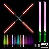 Juguete de sable de luz de duelo 2 en 1, RGB 11 colores...