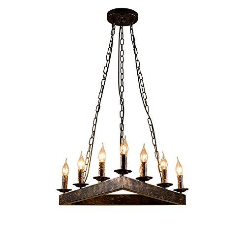 CL@ Lampe à suspension Triangle Créative Américaine - Loft Retro Style Industriel Lustre - Fer Forgé 9 Tête Salon Bar Cafe Table Créative Triangle Plafonnier Lustre