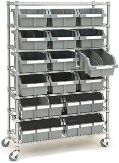 Seville Classics SHE16510BX Commercial 7-Tier NSF 16 Bin Rack Shelving, 36