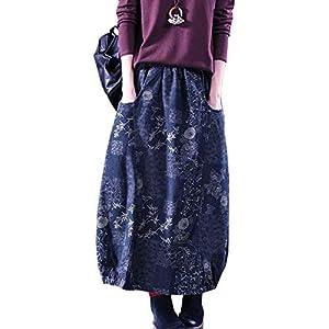 Women's Casual Elastic Waist Button Front A-Line Midi Long Denim Skir...