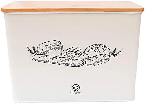 Cuisatel Boîte à Pain Spacieuse | Couvercle en Bambou utilisable en Planche à découper | Boîte De Rangement pour Le...