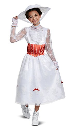 Disguise Disney Mary Poppins Deluxe Girls' Costume , White, Medium/(7-8)