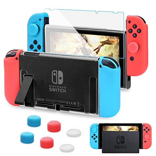 HEYSTOP Custodia per Nintendo Switch, Cover Protettiva Trasparente e Switch Pellicola Protettiva Utilizzabile nel Dock con 6 Copri Analogico(Trasparen